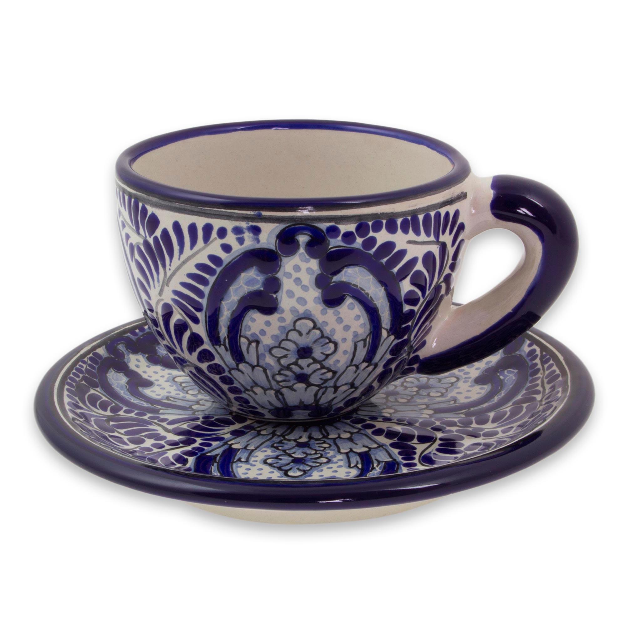 Majolica Coffee Cups Blue