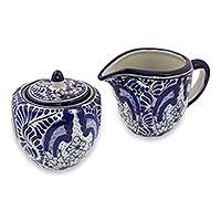 Ceramic sugar and creamer set, 'Puebla Kaleidoscope' - Artisan Crafted Blue Ceramic Sugar and Creamer