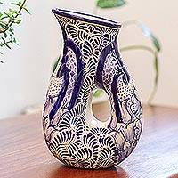 Ceramic pitcher, 'Puebla Kaleidoscope' - Artisan Crafted Ceramic Blue Floral Pitcher