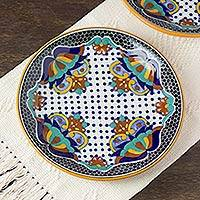 Ceramic dinner plates, 'Zacatlan' (pair) - Artisan Crafted Ceramic 12-inch Dinner Plates (Pair)