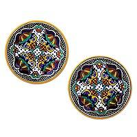 Ceramic salad plates, 'Zacatlan Flowers' (pair) - Mexican Talavera Style 8-Inch Salad Plates (Pair)