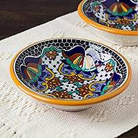 Ceramic soup bowls, 'Zacatlan Flowers' (pair) - Ceramic 7-Inch Soup Bowls from Mexico (Pair)