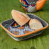 Ceramic casserole, 'Zacatlan Flowers' - Artisan Crafted 10 Inch Talavera Style Casserole