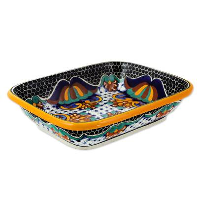 Ceramic casserole, 'Zacatlan Flowers' - Artisan Crafted 10 Inch Talavera Ceramic Bread Tray Plate