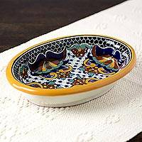Ceramic salsa bowl, 'Zacatlan Flowers' - Artisan Crafted Majolica Ceramic 9 Inch Salsa Bowl