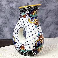 Ceramic pitcher, 'Zacatlan Flowers' - Artisan Crafted Ceramic Talavera 47-oz Drinkware Pitcher
