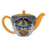 Ceramic teapot, 'Zacatlan Flowers' - Artisan Crafted Ceramic Floral Teapot 43 Oz