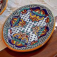 Oval ceramic platter, 'Zacatlan Flowers' - Artisan Crafted Ceramic 13 Inch Oval Serving Plate