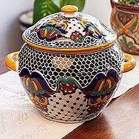 Ceramic tureen, 'Zacatlan Flowers' - Talavera Style Ceramic Handcrafted Soup Tureen