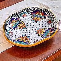 Ceramic platter, 'Zacatlan Feast' - Artisan Crafted Talavera Style 15 Inch Platter