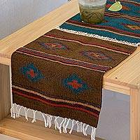 Zapotec wool runner, 'Zapotec Morning' (3.5x1.5) - Unique Geometric Mexican Table Runner (3.5x1.5)