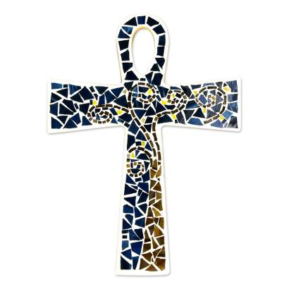 Glass mosaic ankh, 'Key to Eternity' - Blue Glass Mosaic Ankh Cross Hand Crafted in Mexico