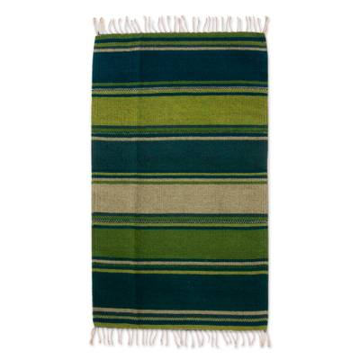 Green and Teal Handwoven Zapotec Wool Rug (2x3)