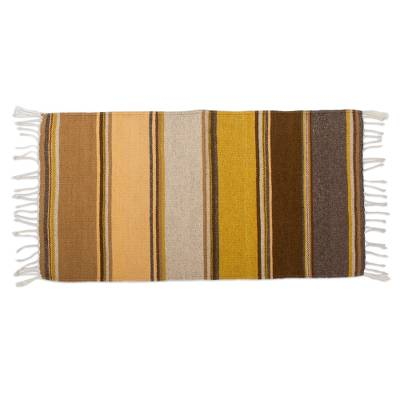 Brown and Gold Handwoven Zapotec Wool Rug (2x3)