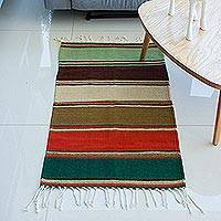 Zapotec wool rug, 'Zapotec Seasons' (2x3.5) - Striped Multi-Color 2 x 3.5 Foot Zapotec Wool Rug