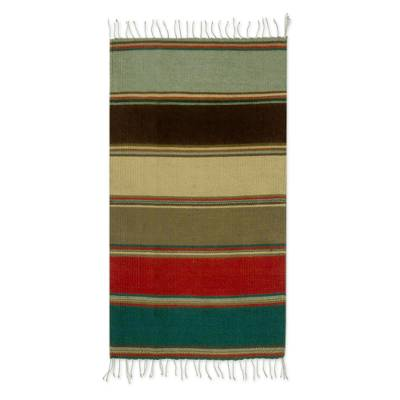 Striped Multi-Color 2 x 3.5 Foot Zapotec Wool Rug