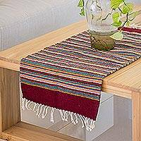 Zapotec wool table runner, 'Wine and Sunshine' - Handwoven Multi-Color Zapotec Wool Table Runner