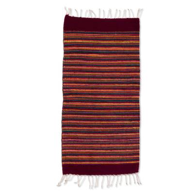 Zapotec wool table runner, 'Wine and Sunshine' - 1.5 x 2.5 Foot Handwoven Multi-Color Zapotec Wool Rug