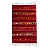 Zapotec wool rug, 'Crimson Warrior' (4x7) - Authentic Geometric Handwoven Zapotec Wool Area Rug (4x7)