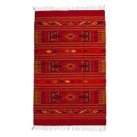 Zapotec wool rug, 'Mitla Scarlet' (4x6.5) - Red Geometric Motif Handwoven Zapotec Wool Rug 4 x 6.5