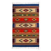 Zapotec wool rug, 'Juchitan Fiesta' (4x7)