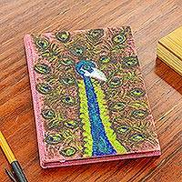 Jute journal, 'Peacock Notes' - Hand Painted Peacock on Jute Journal with 100 Blank Pages