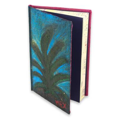 Jute journal, 'Jute Notes' - Hand Painted Jute Personal Journal with 100 Blank Pages