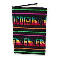 Cotton journal, 'Mexico Rainbow Glyphs' - Aztec Glyphs on Cotton Covered Journal with 100 Blank Pages