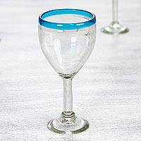 Blown glass wine glasses, 'Aquamarine Kiss' (set of 6) - Clear with Aqua Rim Hand Blown 8 oz Wine Glasses (Set of 6)