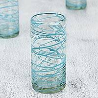 Blown glass water glasses, 'Aquamarine Swirl' (set of 6) - Mexican Hand Blown Glass 11 Oz Water Glasses (Set of 6)