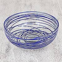 Blown glass salad bowl, 'Sapphire Swirl' - Clear 10 Inch Blown Glass Salad Bowl with Blue Swirls