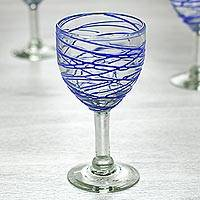 Blown glass wine glasses, 'Sapphire Swirl' (set of 6) - Mexican Blown Glass Set of 6 Wine Glasses with Blue Swirls