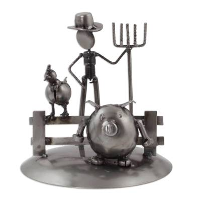 Upcycled auto part sculpture, 'Mechanical Farmer' - Mexican Handcrafted Recycled Auto Parts Farm Sculpture