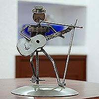 Upcycled auto part sculpture, 'Rustic Vocalist' - Metal Vocalist with Guitar Rustic Auto Part Sculpture
