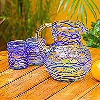 Blown glass pitcher, 'Sapphire Swirl' - Blown Glass Blue Pitcher 84 oz Hand Blown in Mexico