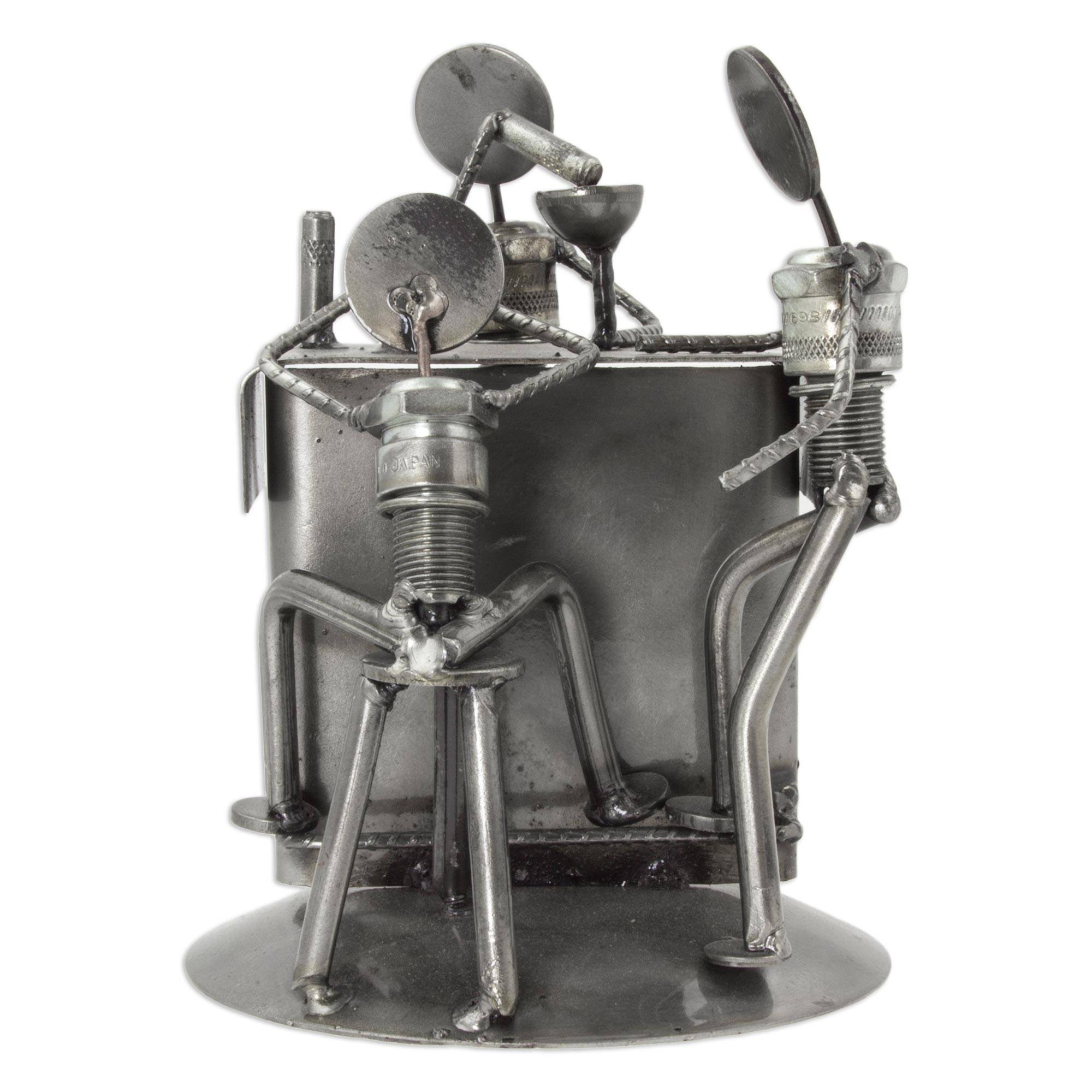 Upcycled Metal and Car Parts Bar Scene Sculpture from Mexico, 'Rustic  Cantina'