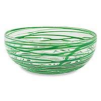 Blown glass salad bowl, 'Emerald Swirl' (10 inch) - Artisan Crafted 10 Inch Green Swirl Blown Glass Salad Bowl