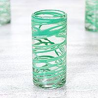 Blown glass highball glasses, 'Emerald Swirl' (set of 6) - Set of 6 Green Accent Hand Blown 11 oz Highball Glasses
