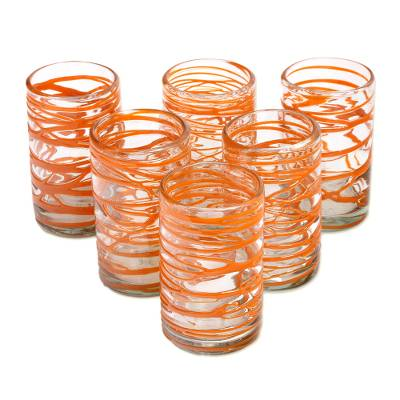 Blown glass water glasses, 'Tangerine Swirl' (set of 6) - Hand Blown Glass Orange Swirl 13 oz Water Glasses (Set of 6)