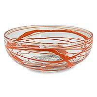Blown glass salad bowl, 'Tangerine Swirl' - Orange Swirl 10 Inch Hand Blown Glass Salad Bowl