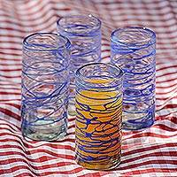 Blown glass high ball glasses, 'Sapphire Swirl' (set of 6) - Six Blue Swirl Hand Blown 11 oz High Ball Glasses
