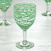 Blown glass wine glasses, 'Emerald Swirl' (set of 6) - Set of 6 Blown Glass 10 oz Wine Glasses with Green Swirls