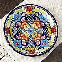 Ceramic dinner plates, 'Blue Teziutlan' (pair) - Handcrafted Multicolor Lead Free Mexican Puebla Cobalt Blue