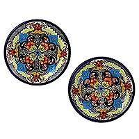 Ceramic salad plates, 'Blue Teziutlan' (pair) - Handcrafted Multicolor Lead Free Mexican Puebla Cobalt Blue