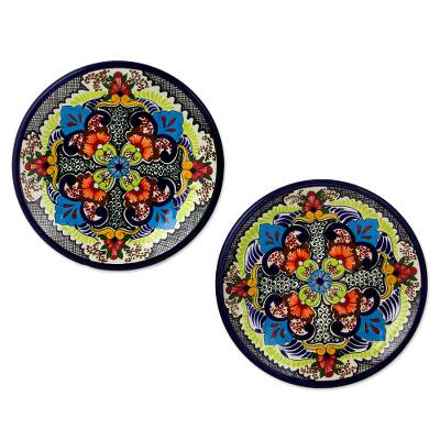 Ceramic salad plates, Blue Teziutlan (pair)