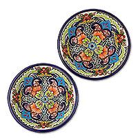 Ceramic bowls, 'Blue Teziutlan' (pair) - Mexican Talavera Style Ceramic Bowls (Pair)
