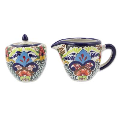 Ceramic sugar bowl and creamer, 'Blue Teziutlan' - Handcrafted Multicolor Lead Free Mexican Puebla Cobalt Blue