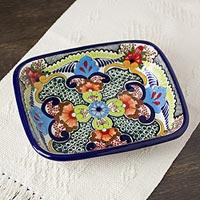 Ceramic casserole, 'Blue Teziutlan' - Handcrafted Multicolor Lead Free Mexican Puebla Cobalt Blue