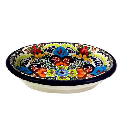 Ceramic salsa bowl, 'Blue Teziutlan' - Authentic Artisan Crafted Signed 9-inch Salsa Bowl