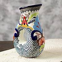 Ceramic pitcher, 'Blue Teziutlan' - Handcrafted Multicolor Lead Free Mexican Puebla Cobalt Blue